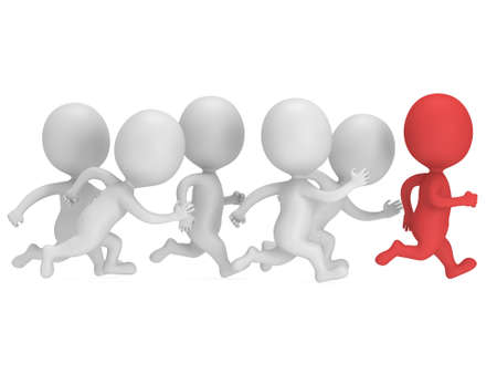 Red Mann den Weg. 3D-Render isoliert auf weiß. Chase, Fitness, Sport-Konzept.