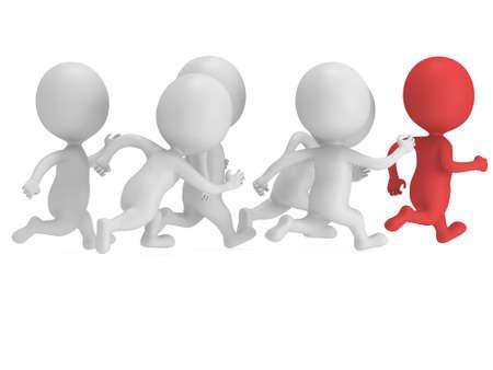 uomo rosso: Uomo rosso aprire la strada. 3D rendering isolato sul bianco. Chase, fitness, sport concetto.