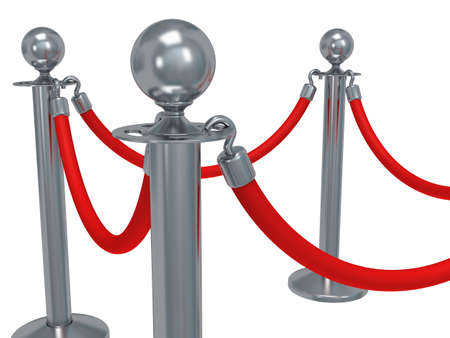 red barrier velvet: Silver rope barrier - 3d render. Fence with red rope isolated on white. Luxury, VIP concept Stock Photo