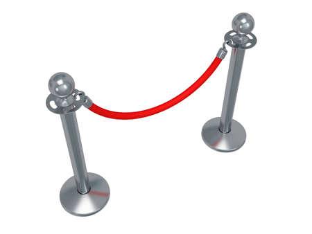 acomodador: Barrera de cuerda de plata - 3d. Cerca con cuerda roja aislado en blanco. Lujo, concepto VIP