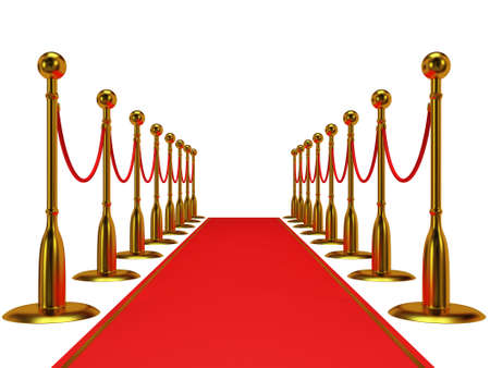 velvet rope barrier: Golden rope barrier with red event carpet over white - 3d render