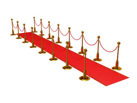 festival scales: Golden rope barrier with red event carpet over white - 3d render