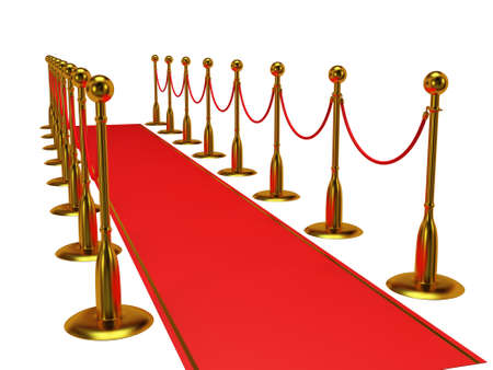 red barrier velvet: Golden rope barrier with red event carpet over white - 3d render