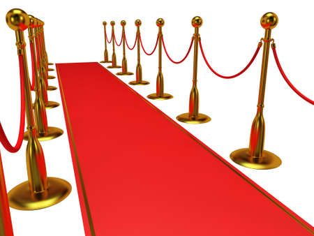 rope barrier: Golden rope barrier with red event carpet over white - 3d render