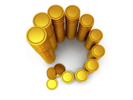 3d schedule. Pile of golden coin as spiral staircase 3d render isolated on white background Stock Photo