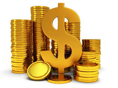 rouleau: Dollar sign and golden coins on white. 3d render isolated on white background. Money, rich, business concept