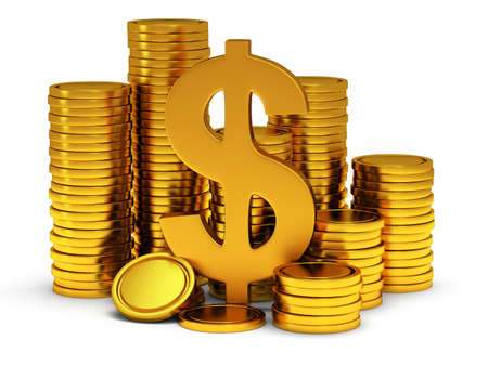 Dollar sign and golden coins on white. 3d render isolated on white background. Money, rich, business concept