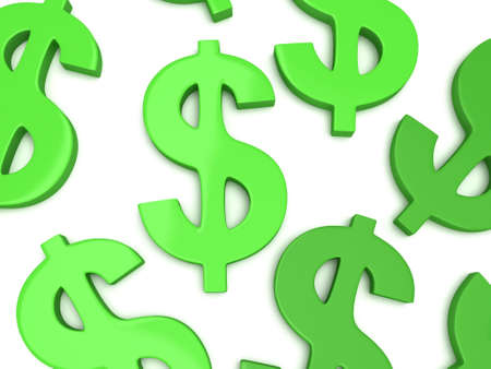 rouleau: Green dollar signs on white. 3d render isolated on white background. Money rich business concept Stock Photo