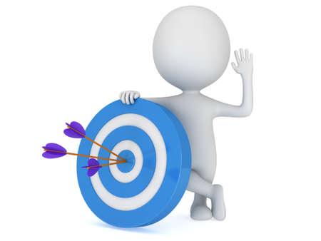 3D 남자는 세 개의 화살표가 파란색 목표 대상 근처에 서있다. 목표 행운 전략 게임 비즈니스 개념입니다.