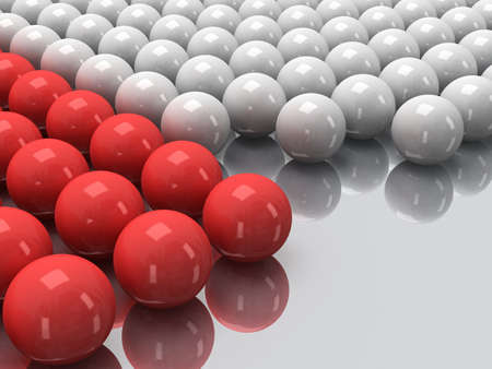 glob: Red and white balls on mirror floor as abstract background. Orbs, sphere, glob concept