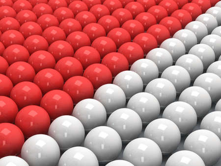 glob: Red and white balls as abstract background. Orbs, sphere, glob concept