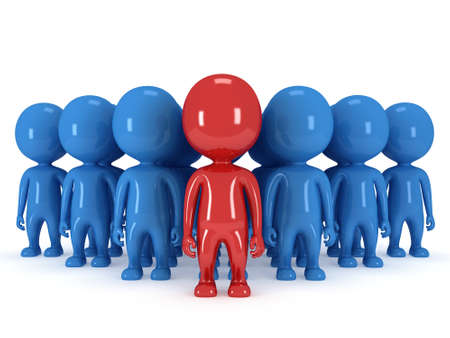 allocated on white: Group of stylized blue people with red teamleader stand on white in arrow form. Isolated 3d render icon. Teamwork, business, army, out of crowd concept. Stock Photo