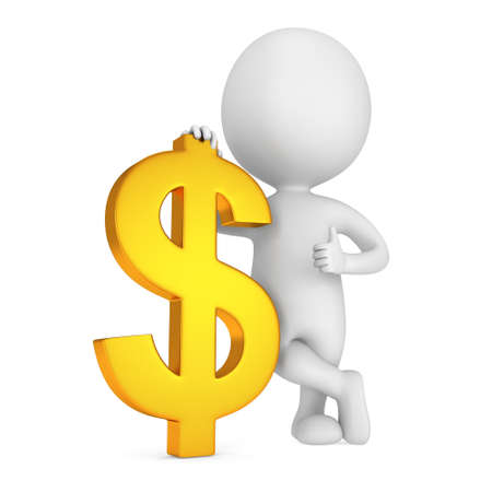 3d white man stand with golden dollar sign. Thumbs up. Render isolated on white. Money concept.
