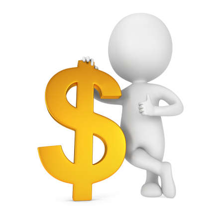 icon idea idiom illustration: 3d white man stand with golden dollar sign. Thumbs up. Render isolated on white. Money concept.