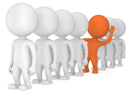 3 d 人立線しますが、白い背中に際立っている 1 つのオレンジ。男性は、行の人。リーダーシップとチーム。群衆。挨拶の手を上げた