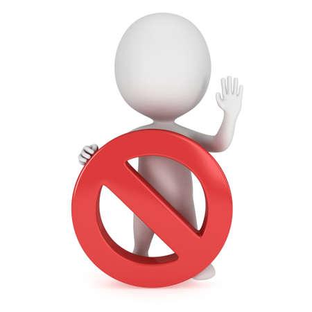 3D Mann mit verbotenen Zeichen. Kein Symbol. Prohibition. 3D-Render isoliert auf weiß