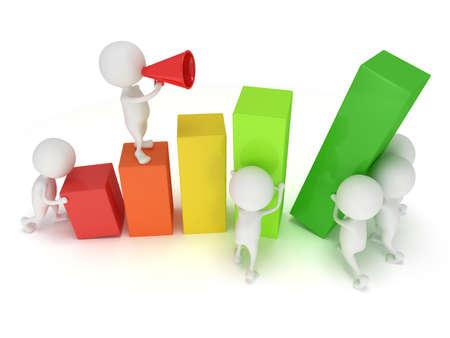 3D barre de couleur graphique avec l'équipe des blancs qui aide les statistiques grandissent Banque d'images - 37751376