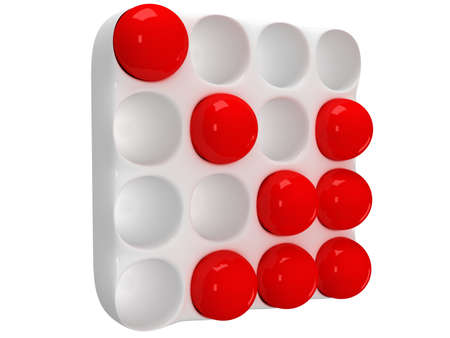 pegboard: illustration of cassette with round cells and red orbs