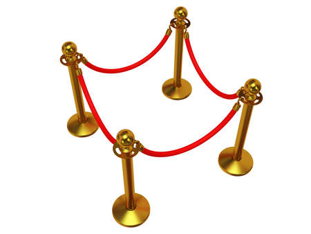 rope barrier: Golden rope barrier - 3d render. Fence with red rope isolated on white. Luxury, VIP concept Stock Photo