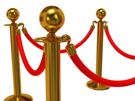 velvet rope barrier: Golden rope barrier - 3d render. Fence with red rope isolated on white. Luxury, VIP concept Stock Photo