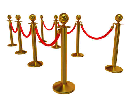 barrier rope: Golden rope barrier - 3d render. Fence with red rope isolated on white. Luxury, VIP concept Stock Photo