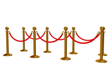 red barrier velvet: Golden rope barrier - 3d render. Fence with red rope isolated on white. Luxury, VIP concept Stock Photo