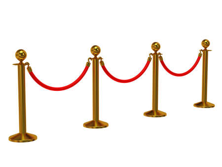 Golden rope barrier - 3d render. Fence with red rope isolated on white. Luxury, VIP concept photo