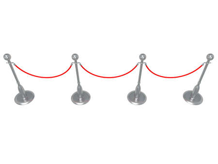 usher: Silver rope barrier - 3d render. Fence with red rope isolated on white. Luxury, VIP concept Stock Photo
