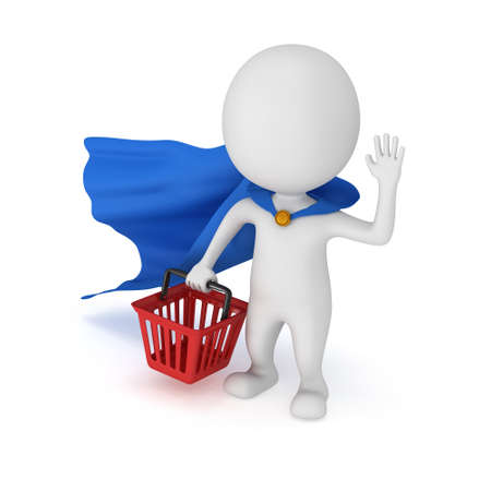 mystery man: Brave superhero with blue cloak and red shopping basket. Isolated on white 3d man. Merchandise, shopping, mystery shopper concept.
