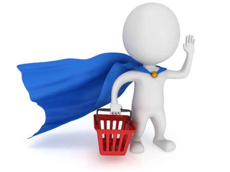 merchandiser: Brave superhero merchandiser with blue cloak and red shopping basket. Isolated on white 3d man. Merchandise, shopping, mystery shopper concept.