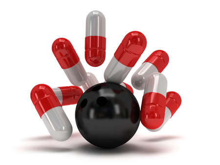 white pills: 3d medical pills strike with bowling ball on white. Pills, drugs, medicine, healthcare concept