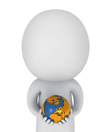 love pic: 3d white people stand with earth planet globe in his hands. Isolated on white.