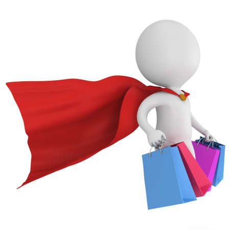 mystery man: Brave super hero with red cloak and colored paper shopping bags flying above. Isolated on white 3d man. Merchandise, shopping, mystery shopper concept. Stock Photo