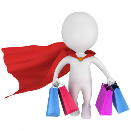 mystery man: Brave superhero with red cloak and colored paper shopping bags flying above. Isolated on white 3d man. Merchandise, shopping, mystery shopper concept. Stock Photo
