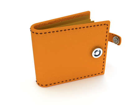empty wallet: 3d render of open brown leather wallet over white background