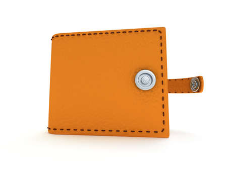 brown leather: 3d render of open brown leather wallet over white background