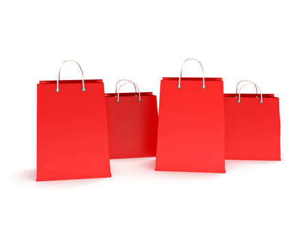 handles: four classic red blank shopping bags with handles isolated on white. (3d render) Stock Photo
