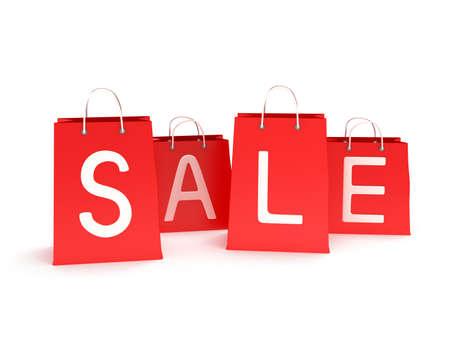 promover: quatro cl�ssicos sacos de compras com al�as vermelhas com inscri��o promover a venda isolada no branco. (3d rendem)