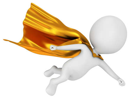 Man brave superhero leader with gold cloak flying above. Isolated on white 3d render. Flying, power, freedom concept.