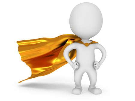 Brave white superhero with gold cloak posing on white. Isolated 3d render. Power, success, freedom concept.