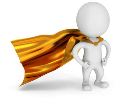 brave: Brave white superhero with gold cloak posing on white. Isolated 3d render. Power, success, freedom concept.