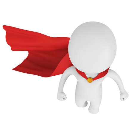 Man brave superhero with red cloak fly above. Isolated on white 3d render. Flying, power, freedom concept. Reklamní fotografie