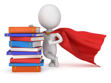 Brave superhero student with red cloak and colored books. Isolated on white 3d man. Education, university concept. photo