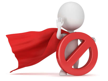 3d man - brave superhero with red cloak and forbidden sign. Isolated on white 3d render. Ban, web, no concept photo