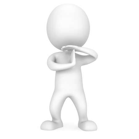 show time: White cute man show time out gesture with hands. 3d render isolated on white. Sport, game, business, pause concept.
