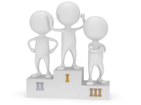 Winners on sports podium for the first, second and third place isolated on white. Stylized white people raise hands up.  3D render. photo