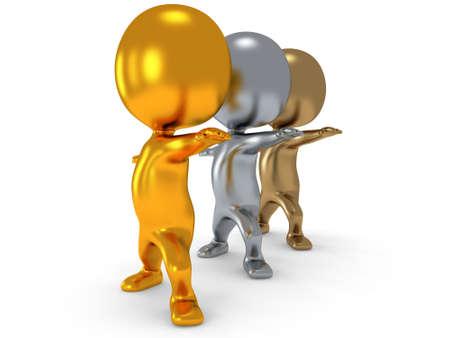 aktywność fizyczna: Złoto srebro i brąz ludzie robią ćwiczenia jogi. Renderowania 3D samodzielnie. Pojęcie aktywności fizycznej.
