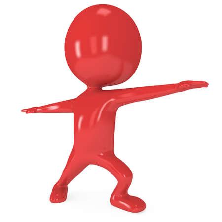 aktywność fizyczna: Red uroczy człowiek robi ćwiczenia jogi. Renderowania 3D samodzielnie. Pojęcie aktywności fizycznej. Zdjęcie Seryjne