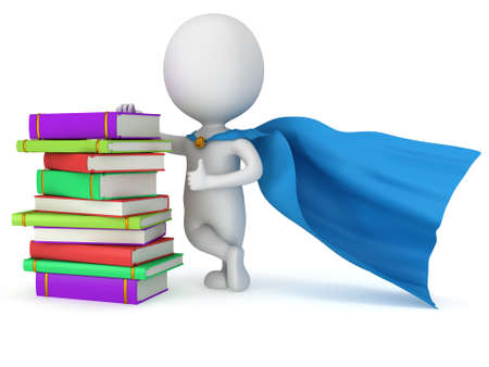 Brave superhero student with blue cloak and colored books. Isolated on white 3d man. Education, university concept. photo