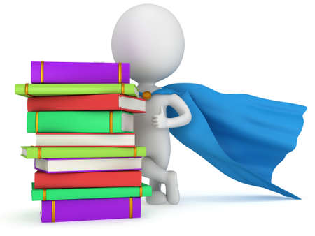 Brave superhero teacher with blue cloak and colored books. Isolated on white 3d man. Learn, school, wisdom concept. photo